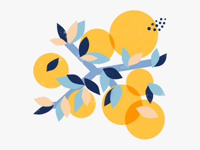 Seasonal Citrus yellow blue nature art citrus oranges fruits abstract shapes procreate illustration