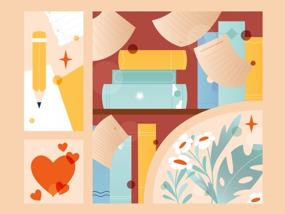 November Summary illustration 2d shapes love plants books monthly vector art vector