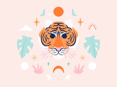 Hello Tiger symmetry tiger cute animals nature art animal nature pattern digital art procreate illustration