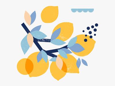 When Life Gives You Lemon... lemonade fruits blue yellow citrus lemon abstract design procreate digital art shape