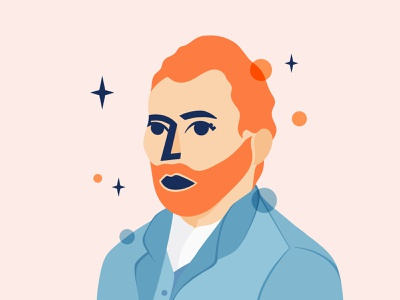 Vincent Van Gogh illustration selfie orange blue self-portrait vincent van gogh character design portrait illustration portrait procreate
