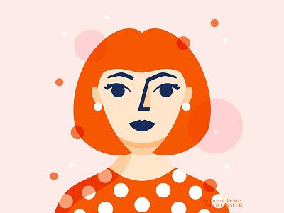 Yayoi Kusama women empowerment women artist women character design character polka dots yayoi kusama dots symmetry procreate illustration