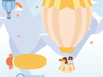 Printed Stories —Balloon Trip adventure air balloon adobe illustrator printed wallpaper wallpaper client work landscape kid illustration mountain nature art nature digital art illustration