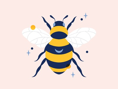 Busy Bee graphic design moon bees blue yellow busy bee bee insect animal botanical nature art nature digital art illustration