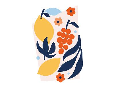 Lemons & Grapes red navy blue yellow citrus grapes lemon nature fruits flat design vector art vector shapes and colors abstract shape digital art illustration