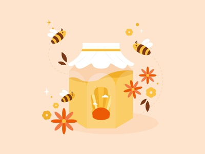 Honey Bees vector art adobe illustrator inktober red brown yellow honey honey bees bees floral botanical nature art nature digital art illustration