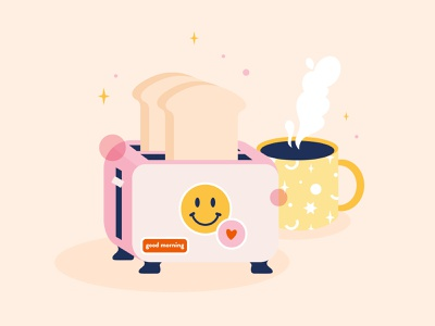 Morning Toast beige pink yellow toast foodie food illustration breakfast morning vector adobe illustrator vector art digital art illustration