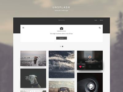 Unsplash Redesign - Homepage ux ui minimal modern home page john noussis noussis redesign unsplash
