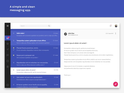 A simple and clean messaging app. debut messages web design ux ui app material messaging