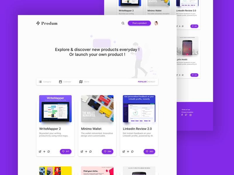 Produm web app material design ux concept ui