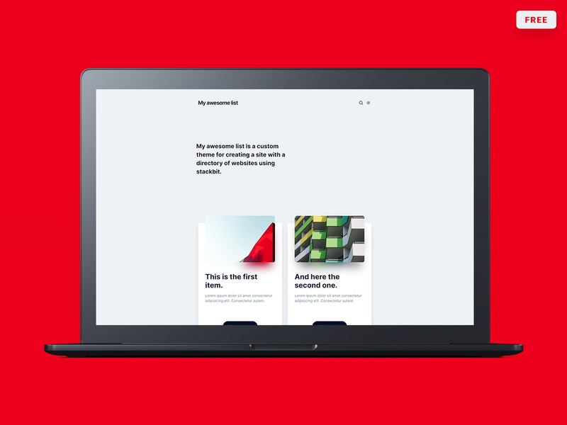 My awesome list - Theme design for Stackbit theme free list download jamstack stackbit web design