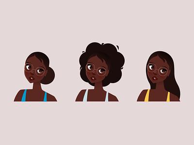 Hair Styles digital art characters vector figma illustrator illustration character design black character design afro hair hair
