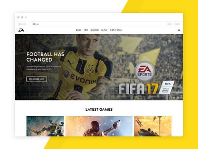 EA Redesign homepage website gaming games redesign ea