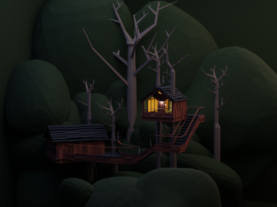 treehouse cartoon illustration 3d art treehouse dark house design illustration blender3dart blender3d blender