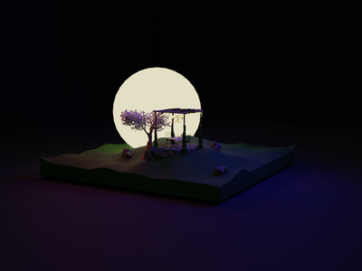 moonlight tree moonlight dark illustration cartoon illustration 3d art backyard blender blender3dart blender3d design