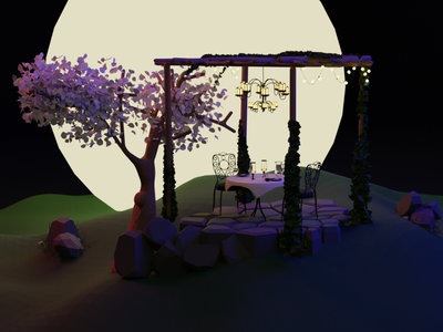 moonlight moonlight backyard dark cartoon illustration 3d art illustration blender3dart blender blender3d design