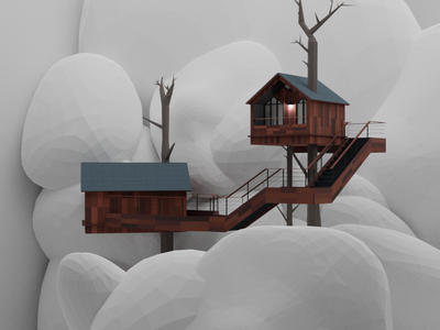 tree house2 ui cartoon illustration blender3dart blender3d blender 3d art illustration design