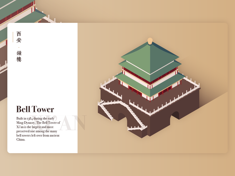 Bell Tower of Xi'an 3d ancient china architecture building isometric china xian bell tower