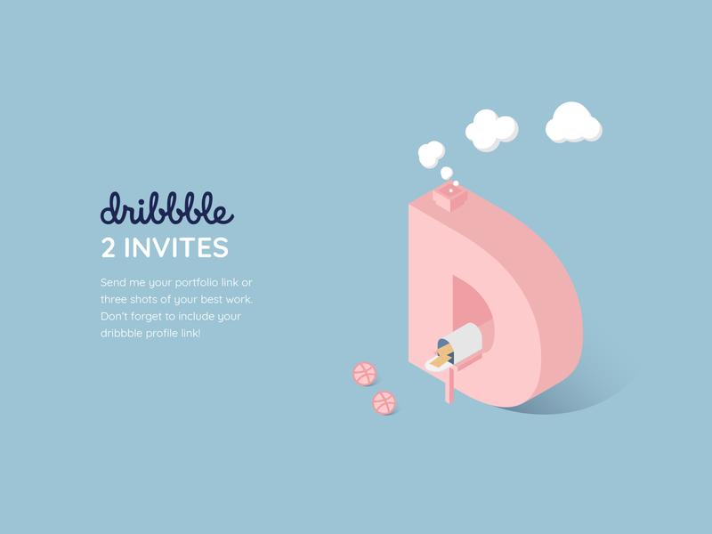 2 Dribbble Invites debut dribbble invites