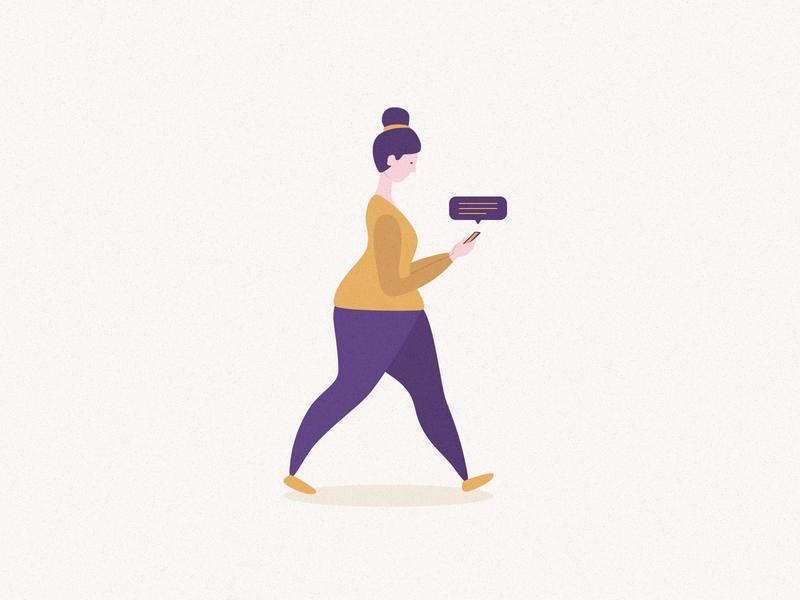 Walking woman message app walking texting woman