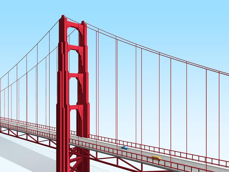 Golden Gate Bridge illustration 3d c4d san francisco sf bay area golden gate bridge bridge city