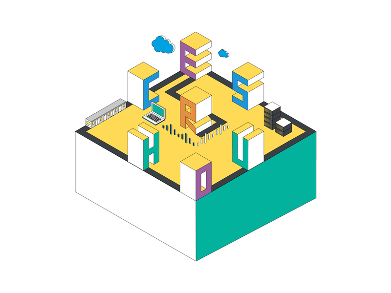 Community Concept building island community isometric