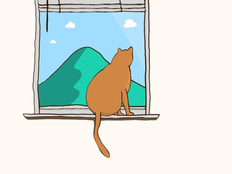Cat watching procreate cartoon