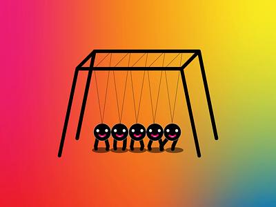 Newton's Cradle emoji vector gif character design illustrator design animation after effects illustration