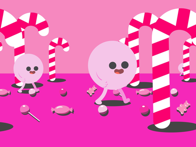 Candy Walk emoji character design animated gif design animation after effects illustration