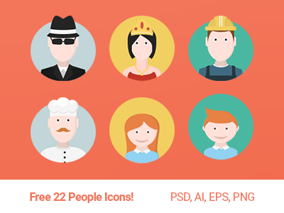 Free 22 People Icons icons free flat 100 svg psd ai pack freebies color icons