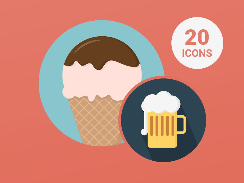 Free 20 Food & Drink Icons free freebie freebies icons food drink ai eps vector icons pack