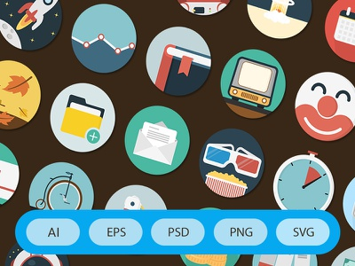 300 Flat Icons business videos seo weather design apps emails education emoticons folders hipsters photo
