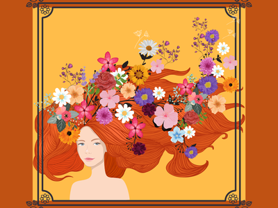 You're a Natural wavy unique new model portrait art flower illustration style illustration nature flowers graphic design beauty illustrator flat design art