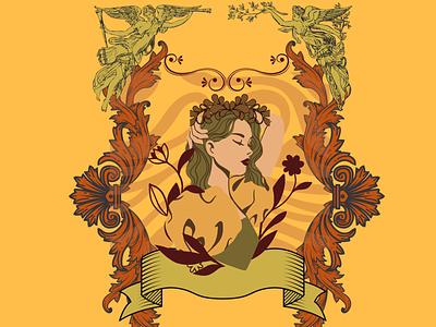 The Vanity Faire graphic design illustrator vintage female logo flat style branding illustration design art unique beauty