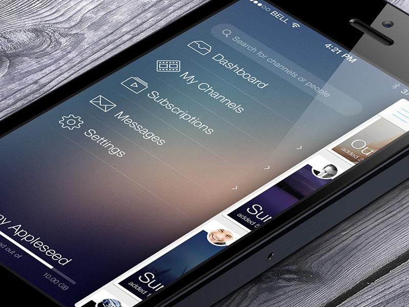 Can not tell yet ios7 iphone app flat transparent blur simple video profile stream menu