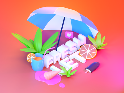 Fresh summer typography poster design render isometric blender 3d poster