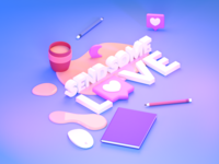 Say thanks to your colleagues! typography isometric 3d art render blender