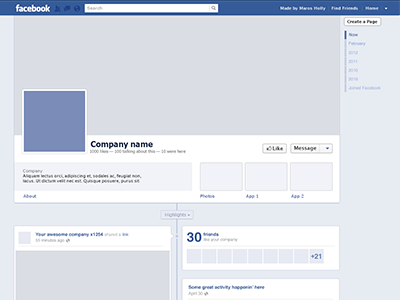 Facebook Timeline template freebie by Maros Holly ... Facebook Page Timeline Example