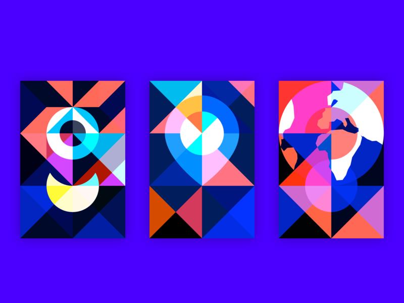 Geometric illustrations geometric design world pin geometry branding blue vector illustration