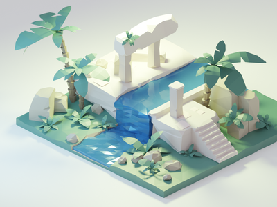 Ruins tutorial lowpoly lowpolyart low-poly isometric ruins blender render 3d