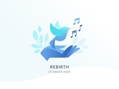 Illustration for «The school of natural voice» blue nature notes note birds bird hand music sing illustraion icon identity web design web vector branding illustration art illustrations illustrator illustration