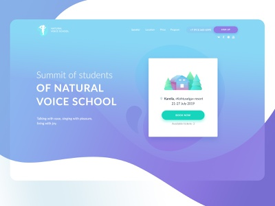 Landing page for Summit of students of Natural Voice School digital nature vector landing landing page gradient blue web design flat minimal website web ux illustration design ui gladkovcompany