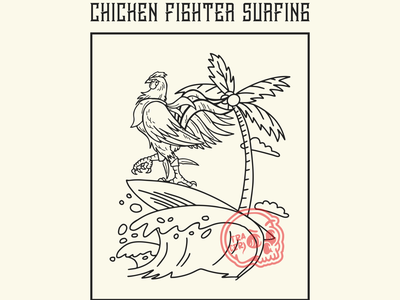 chiken fighter surf flat vector logo design illustration