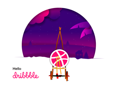 Hello Dribble dribbble thanks first design debut bangla village hello