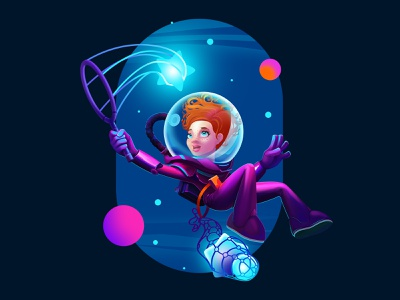 Space Adventure stars colors colorful cartoon art design cosmonaut space character illustration