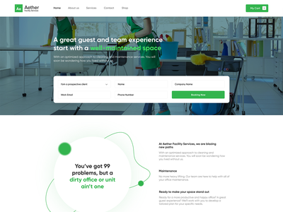 Website Design —  Aether Facility Services sanitizer mask masks shop wash service services icon green fresh colors clean fresh cleaning facility design website web