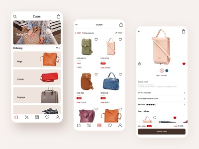 Accessories Store Mobile App ecommerce bags goods leather accessories android ios app ux ui mobile store