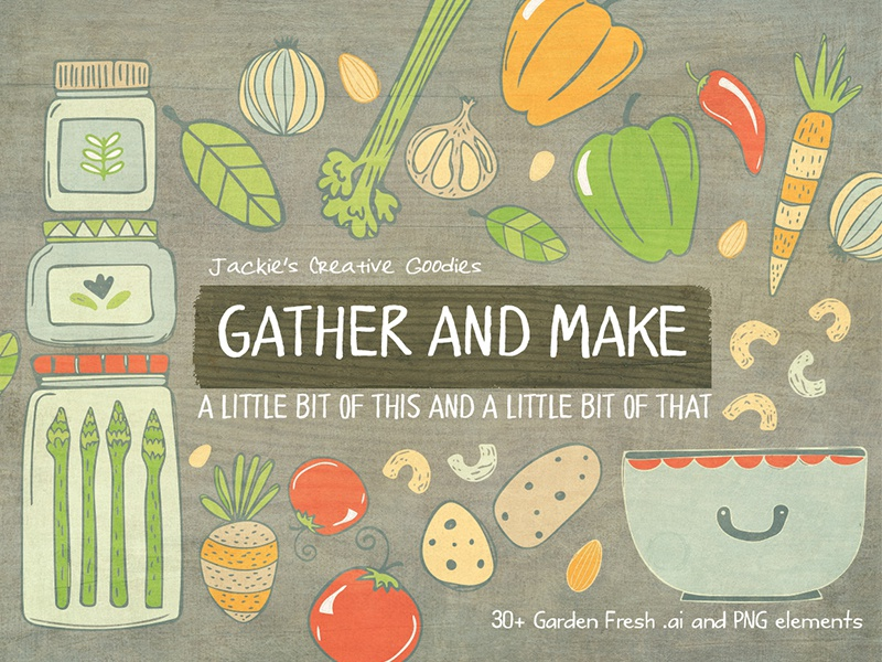 Gather and Make, a Vector Doodle Collection vector graphics vector elements vegetables