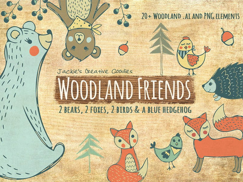 Woodland Friends Doodle Collection forest fox birds bear bears vector doodles woodland