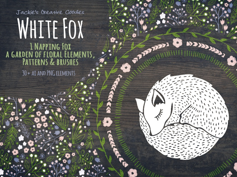 White Fox: A Hand Drawn Collection woodland pattern floral fox hand drawn